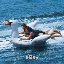 Swimline Solstice Water Inflatable Swan 1 to 2 Rider Boat Towable Tube (2 Pack)