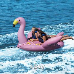 Swimline Solstice Water Sport Inflatable Flamingo 2 Rider Towable Tube (2 Pack)