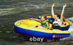Towable Tube Water Sports 2 Person Yellow Water Skiing Inflatable Beach Lake NEW