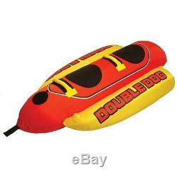 Towable Water Tube 2-Person Watersports Equipment Hot Dog Ride On Handles Red