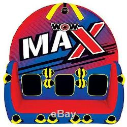 WOW 1 2 or 3 Person MAX Inflatable Tow Tube Towable Boat Water Raft Float