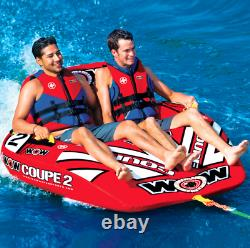 WOW Inflatable Coupe Cockpit 2 Person Rider Towable Tube Float Raft Water Ski