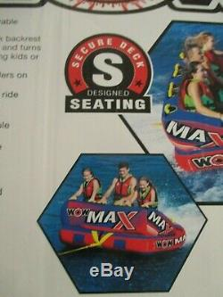 WOW MAX 1, 2 or 3 Person Inflatable Tow Towable Tube Boat Water Raft Float