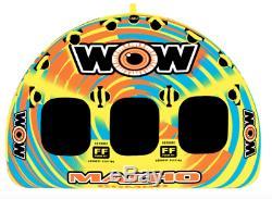 WOW Macho 3 Rider Inflatable Towable Tube Float Raft Water Ski Boat Lake Beach