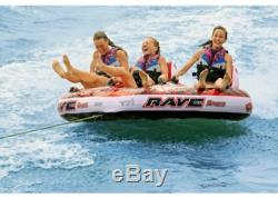 WOW Rave Sports 3 Person Coupe Cockpit Towable Water Tube For Pool and Lake