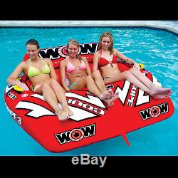 WOW Sports 3 Person Coupe Cockpit Towable Water Tube For Pool and Lake (15-1040)