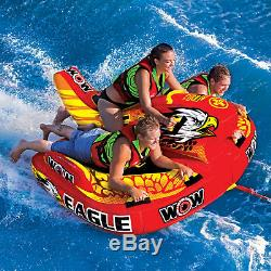 WOW Sports Wow Eagle 1-3 Person Hybrid Towable Water Tube For Pool and Lake
