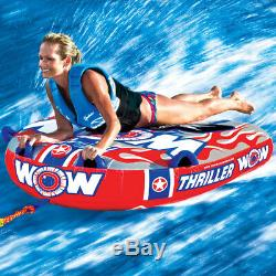 WOW Watersports 11-1060 1 Person Double Webbing Thriller Water Towable Tube, Red