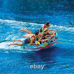 WOW Watersports Thriller Deck Tube Water Towable Tube Inflatable Boat, 4-PERSON
