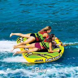 Wow Nitro 2 Person Inflatable Boat Towable Deck Tube Water Tow Raft Float