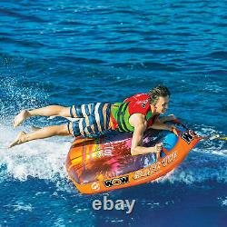 Wow Soft Top 1-2 Person Inflatable Boat Towable Deck Tube Water Tow Raft Float