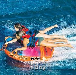 Wow Soft Top 1-2 Person Inflatable Boat Towable Deck Tube Water Tow Raft FloatF