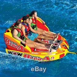 Wow Super Bubba Inflatable 3 Person Deck Seating Towable Water Floating Tube