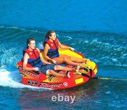 Wow Zoom 2-Person Rider Towable Watersports Inflatable Water Tube With Rope and