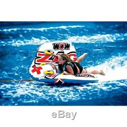 Zig Zag Inflatable Towable Water Sport Tube 1 or 2 Riders Turn Jump Barrell Roll