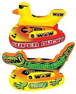 1 2 3 Ou 4 Personnes De Flotteur De Radeau Gonflable Wow Wow Ducky Croc Remorquable