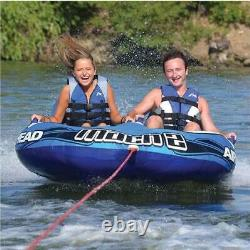 2 Gonflable 2 Rider Cockpit Lake Water Towable Tube, Bleu