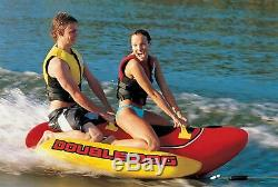 2 Personne Lac Gonflable Hot Dog Tractable Banana Boat Sport Aquatique Ski Tube Corde