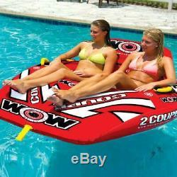 2 Personnes Sports Nautiques Remorquable Pont Tube Gonflable Rider Lac Raft Bateau Float