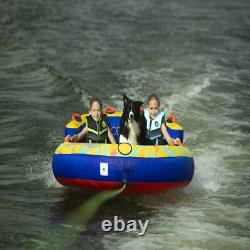 2 Personnes Yellow Water Skiing Gonflable Tube De Remorquage Water Sports Beach Lake Nouveau