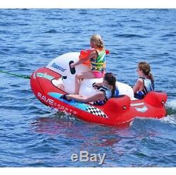 3 Personne Towable Tube Gonflable Eau Radeau Heavy Duty Lac Ocean Rider Rave