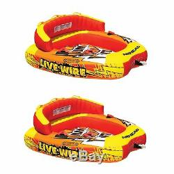 Airhead A Live Wire 2 Gonflable 1-2 Rider Bateau Tractable Lake Water Tube (2 Pack)