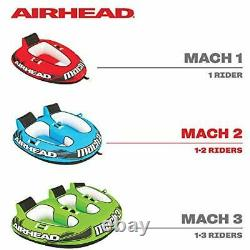 Airhead Ahm2-2 Mach 2 Gonflable 2 Rider Cockpit Lake Water Towable Tube, Bleu