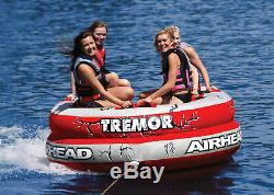 Airhead Ahtm-4 Tremor Gonflable 1-4 Personne Tractable Lake Water Tube Quad Rider