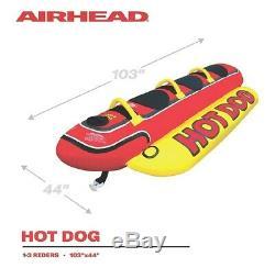 Airhead Hd-3 3 Personne Hot Dog Tractable Intérieur Tube Gonflable Ski Nautique Lac
