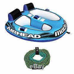 Airhead Mach 2 Ahm2-2 Gonflable 2 Rider Eau Towable Tube Avec 50-60' Corde De Remorquage