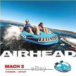 Airhead Mach 2 Ahm2-2 Gonflable 2 Rider Lac Cockpit Eau Towable Tube Bleu