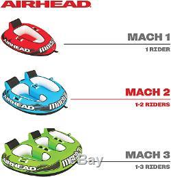 Airhead Mach 2 Ahm2-2 Gonflable 2 Rider Lac Cockpit Eau Towable Tube, Bleu