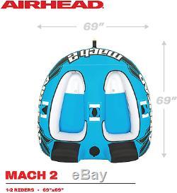 Airhead Mach 2 Ahm2-2 Gonflable 2 Rider Lac Cockpit Eau Tractable Nautique Tube