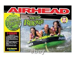 Airhead Mega Ruckus 3-person Rider Bateau De Remorquage Gonflable 70 Deck Tube Eau