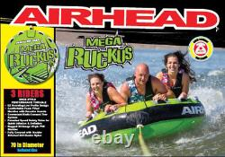 Airhead Mega Ruckus 3-person Rider Inflatable Towable Boat 70 Deck Tube Eau