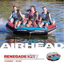 Airhead Renegade 3 Personnes Gonflable De Tube D'eau De Remorquage Avec Corde De Bateau Et Pompe