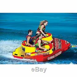 Gonflable S Forme Tractable 4 Rider Lac Natation Tube Nautique Fun Eau Float