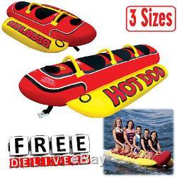 Gonflable Tractable 2/3/5 Personne Hot Dog Fun Ski Tube D'eau Du Lac Raft Banana Tour