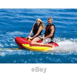 Gonflable Tractable 2 Personne Hot Dog Bateau Ski Tube D'eau Du Lac Raft Banana Tour