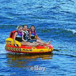 Rave Sport Epic 78 Pouces 3 Rider Siège Gonflable Tractable Double Tube D'eau