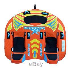 Rave Sport Guerrier X3 3 Rider Double Siège Gonflable Tractable Tube Eau, Orange