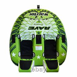 Rave Sports Warrior II 2 Rider Double Seat Inflatable Towable Water Tube, Vert