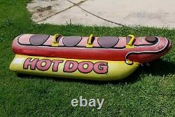 Remorquable Gonflable 3 Personnes Hot Dog Fun Tube Ski Water Lake Raft Banana Ride