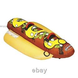 Sportsstuff 53-3055 Hot Dog 2 Inflatable Tube Towable Water Boat Float Toy