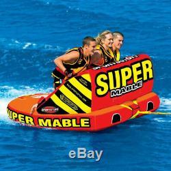 Sportsstuff Super Mable Triple Rider Lac Plaisirs De L'eau Bateau Towable Tube Withrope