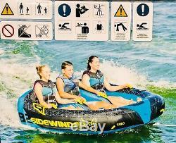 Tube Tractable Sidewinder Pour 3 Personnes Avec Corde Et Pompe 12v Ho Sports Aquatiques Plaisirs D'été