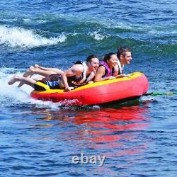 Tubing Float Gonflable 3 Personnes Cavalier Towable Bateau Tube Raft Tirer Derrière L'eau