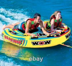 Wow Macho 2 Personne Towable Tube Float Salon Raft Ski Nautique Lac Bateau Plage