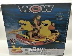 Wow Super Ducky Duck 1 2 3 Personne Rider Bateau Tractable Eau Tube Gonflable Raft