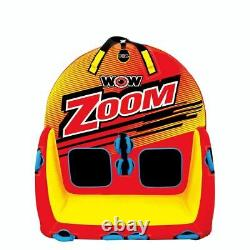 Wow Zoom 2-person Rider Towable Watersports Tube D'eau Gonflable Avec Corde Et